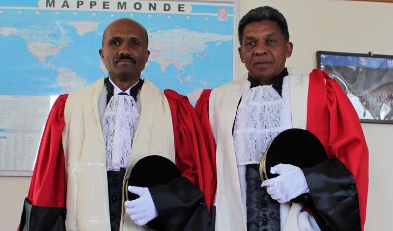 M. Jean de Dieu Rakotonramihamina (Premier président de la Cour des comptes de la République de Madagascar), and Monsieur HERISON Olivier Ernest Andriantsoa, Commissaire Général du Trésor Public du Madagascar.