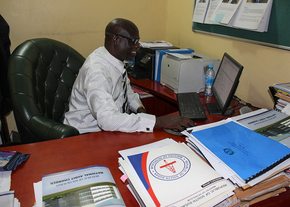 Deputy Auditor General Dr. Justin Droko in the Juba office