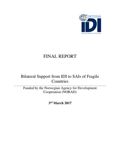 IDI Final report to Norad Bilateral support