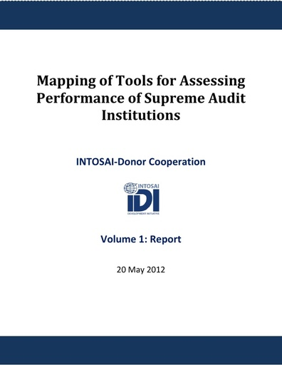 Mapping of SAI Assessment Tools, 20 May 2012
