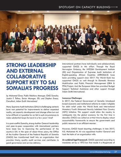 Strong Leadership And External Collaborative Support Key To SAI Somalia's Progress