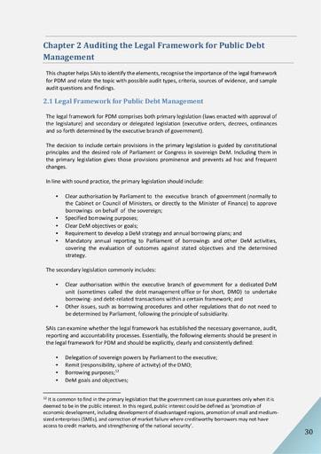 Audit of Public Debt Management: Handbook for SAIs v1 - Chapter 2