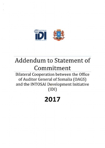Signed addendum to Statement of Commitment 2017