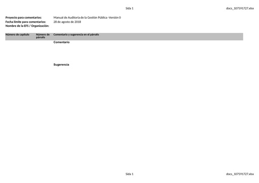 Template disposition of comments (SPANISH)