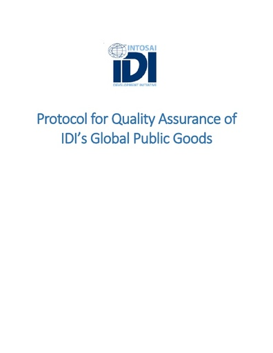 Protocol for Quality Assurance of IDI's global public goods