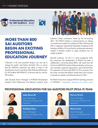 INTOSAI Journal Summer 2021 PESA-P professional education for SAI auditors launches