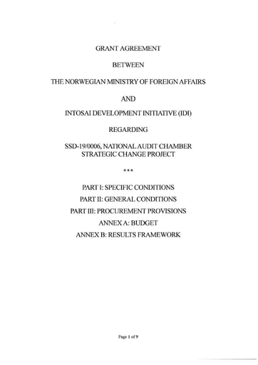 Norwegian Embassy-IDI Grant Agreement for South Sudan NAC 2020-2023