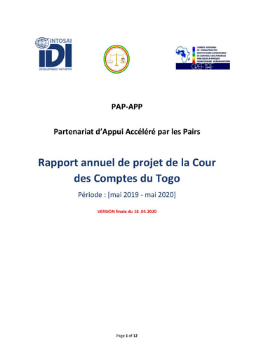 SAI Togo PAP APP Project Report (May 2019 - May 2020)