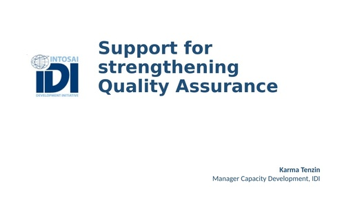IDI support for Quality Assurance in Audits