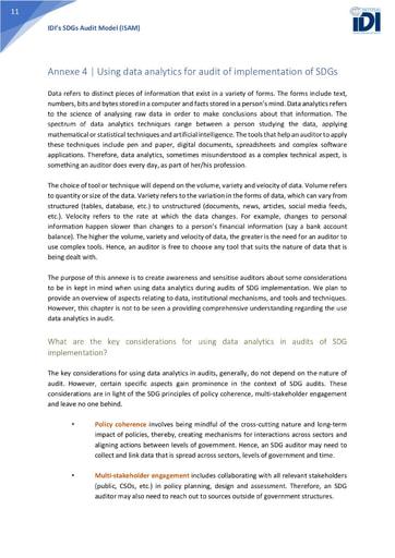 ISAM Annexe 4: Using data analytics for audit of implementation of SDGs