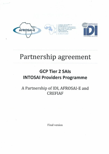 Partnership agreement IDI,  AFROSAI E and CREFIAF