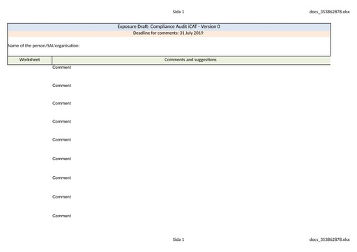 Comments Table for Compliance Audit iCAT Version 0 English