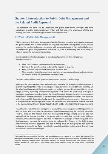 Audit of Public Debt Management: Handbook for SAIs v1 - Chapter 1