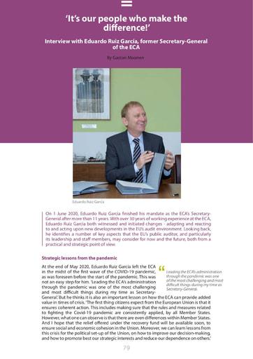 Interview with Eduardo Ruiz García, former Secretary General of the ECA (ECA Journal 1 2021)
