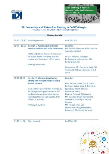 Agenda for SAI Leadership meeting- June-2021