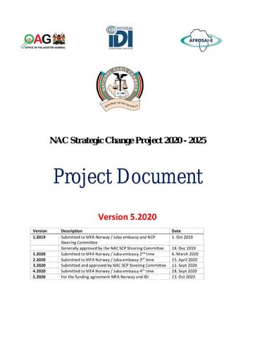 South Sudan NAC Strategic Change Project 2020-2025 - Project Document (v5 2020)