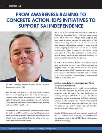 From Awareness Raising to Concrete Action: IDI's Initiatives to Support SAI Independence (INTOSAI Journal Spring 2021)