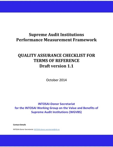 SAI PMF   Quality Assurance Checklist for ToRs, 10 Oct 2014