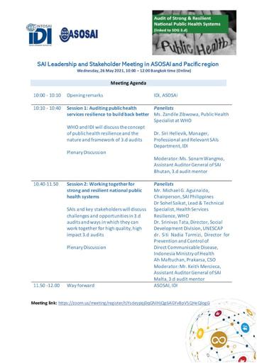 IDI Auditing SDGs - SDG 3-d Audit - 210525 Agenda for SAI Leadership ASOSAI and Pacific Meeting