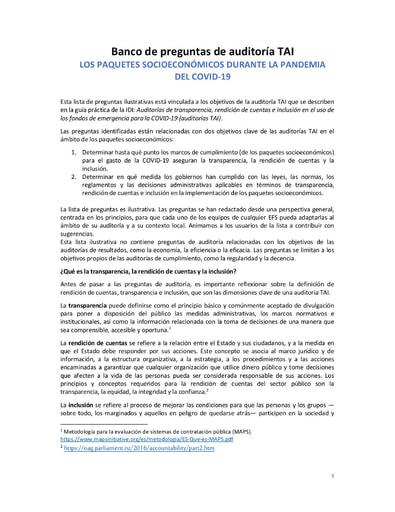 TAI Audit Question Bank Socioeconomic packages SPANISH